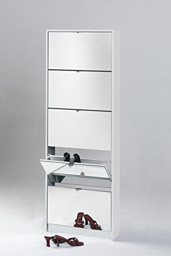 Schuhkipper NO NAME 5er mit Spiegel 60x168x16, Farbe eiche sägerau, Schuhschrank