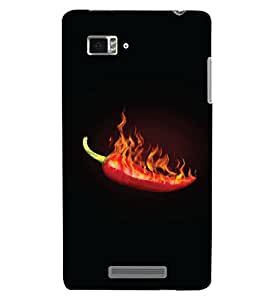 PrintHaat Designer Back Case Cover for Lenovo Vibe Z K910 (hot red chili :: burning red chili :: spicy red hot chili on black background :: red, yellow, green and black)