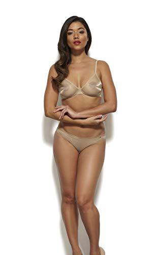 Glossies Dessous-Set für Damen, Nude-BH, Tanga, Shorts, importierter Luxus - Mehrfarbig - 75A -