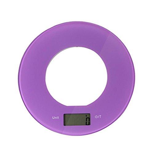 JMung'S Bilancia Da Cucina Digitale Bicchiere Multifunzionale Alimentari Elettronica Accuweight Professionale,Capacità Massima 5Kg , purple