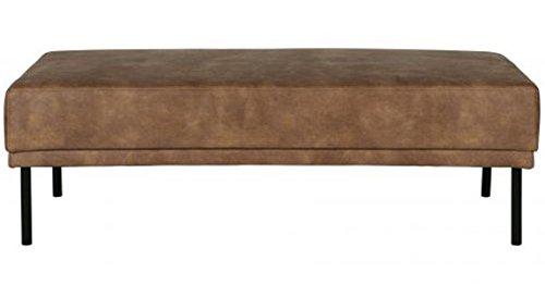 PEGANE Banc en Polyester et Cuir, Couleur crème - Dim : H 41 x L 126 x P 60 cm