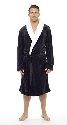 De lujo para hombre con capucha albornoz Super suave polar bata albornoz albornoz con detalle de pelo chal o campana - empaquetado para regalo con lazo perfecto para hombre regalo Negro negro XX-Large