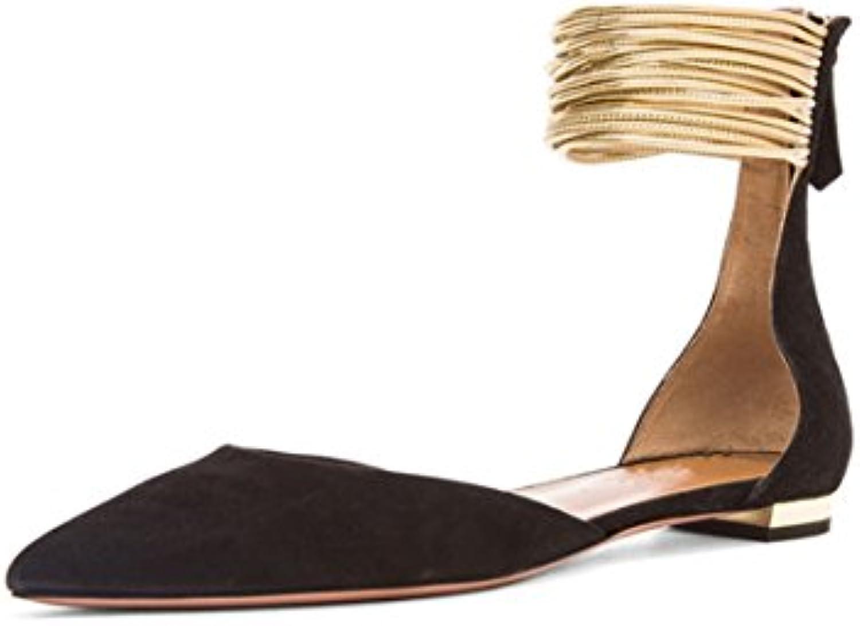 JC Zapatos Planos Decorativos De Punta Estrecha De Las Mujeres Con Zapatos Planos,Black,35
