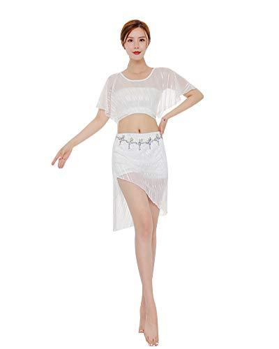 Damen Bauchtanz Rock Tops Tanzkostüm Set Professional Dance Performance Dress Outfit Anzug Weiß - Weiß Profi Bauchtanz Kostüm