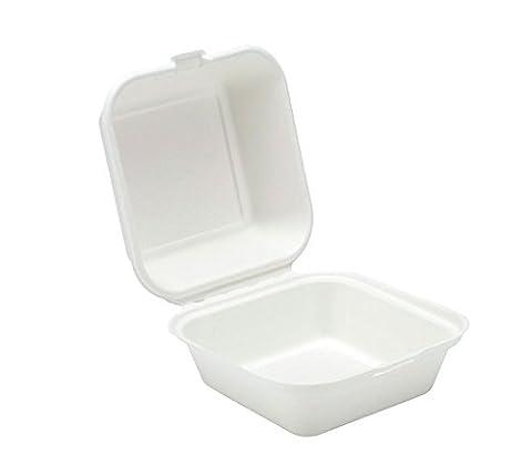 Take Out Boxen Klapp Scharnier biologisch abbaubar to go Lebensmittel Container–15,2x 15,2cm in. 50Zählen.–Weiß weiß