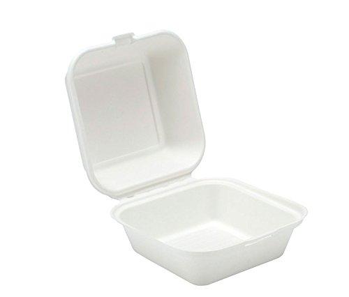 Scharnier biologisch abbaubar to go Lebensmittel Container–15,2x 15,2cm in. 50Zählen.–Weiß weiß (Doggy-kostüm)