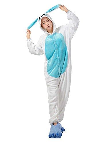 URVIP Neu Unisex Festliche Anzug Flanell Pyjamas Trickfilm Jumpsuit Tier Cartoon Fasching Halloween Kostüm Sleepsuit Party Cosplay Pyjama Schlafanzug Blau Häschen ()