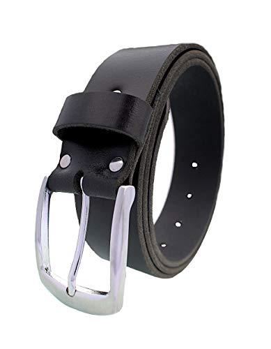 Schwarzer Ledergürtel Herren aus einem Stück dickem Leder in 4 cm Breite aus Büffelleder - Gürtel - Damengürtel & Herrengürtel, Jeansgürtel (Schwarz (1084), Bundweite 90 cm = Gesamtlänge 105 cm) -