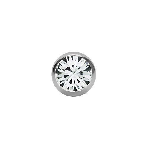 Eeddoo®, piercing in argento con cristallo e vite a sfera. disponibile in 13colori e 6misure. in acciaio inox, 1,2mm, 1,6mm rialzo, sfera di ricambio con un attacco filettato a ferro di cavallo, labret, barbella, per l'ombelico e filettatura: 1,2 mm | cc - cristallo trasparente, colore: argento, cod. 27325