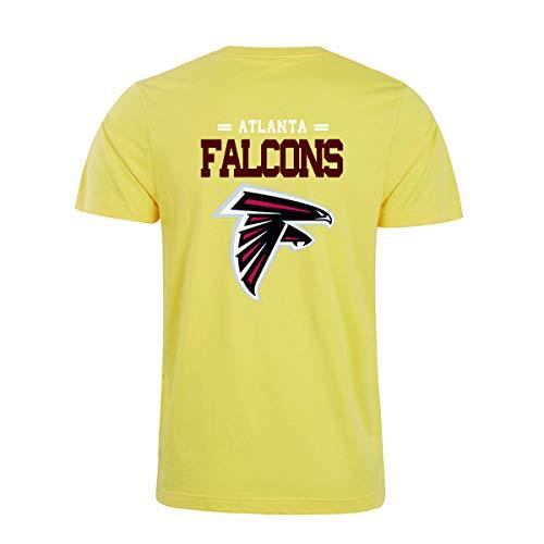 Herren O-Neck Kurzarm Letters Print Atlanta Falcons Einfarbig Sommer T-Shirts(S,Yellow)