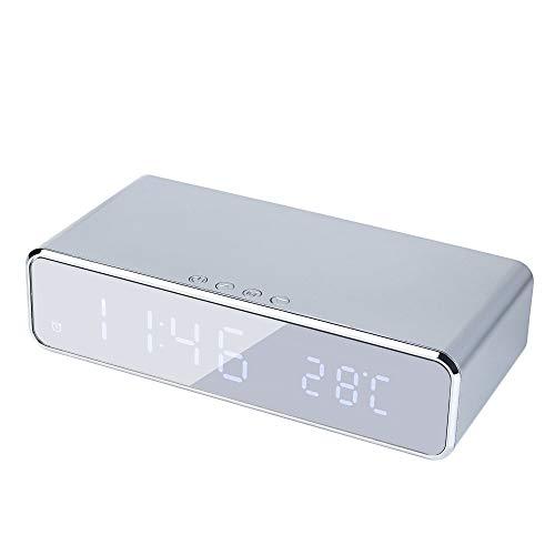PMWLKJ Led Wecker Mit Telefon Wireless Ladegerät Desktop Digital Thermometer Uhr Hd Spiegeluhr Mit Zeitspeicher (Digital-thermometer-desktop)