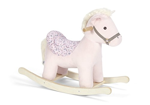 Mamas & Papas Rocking Animal, Plush Pink Rocking Horse Toy with Solid Wooden Base and Raised Seat - Belle