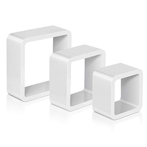 Amzdeal Wandregal 3er Set Cube Hängeregal aus MDF-Holz, Belastbarkeit jedes Regals bis 5 kg, Dicke 18mm, perfekt für Bücher, Vasen, Fotos, Deko