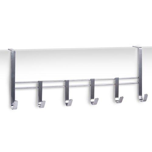 Zeller 13897 Türhängeleiste, 6 Haken, Metall verchromt, L 51 x B 20.5 x H 10 cm -