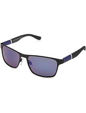 Tommy Hilfiger Unisex-Erwachsene Sonnenbrille TH 1283/S XT, Schwarz (Bk Bluwhtgry), 55