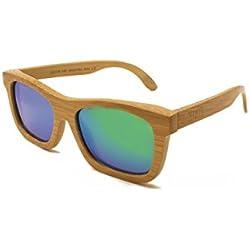 Gafas de Sol de Madera de Bambú ecológico hechas a mano. Gafas de Sol Polarizadas 100% protección UV. Las mejores Gafas de Madera, resistentes y ultraligeras de alta calidad. Cristal Verde.