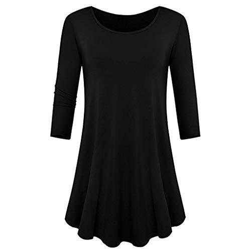 SEWORLD Oberteil Bluse Elegant Kleid Damen Heißer Einzigartiges Design Mode Dreiviertel-Hülse, locker Sitzende Swing Tunika Übersteigt Grundlegende T-Shirt(Z-c-schwarz,EU-46/CN-XXL) Lace Long Sleeve Coat
