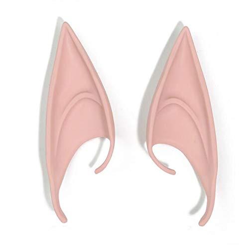 Macxy - Máscaras 1 par Elf Ears Hadas Cosplay Accesorios de látex Suave Prótesis del oído Falso Fiesta de Halloween máscara de Cos [Estilo Largo de 12 cm de 2 Piezas]