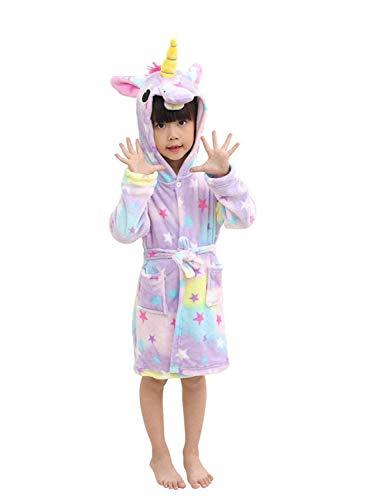 Ceanfly Mädchen Bademantel Einhorn Cartoon Kostüm Tier Pyjamas Sleepwear Nachtwäsche mit Kapuze (Cartoon Mädchen Kostüme)