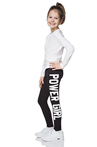"""hi!mom - Mädchen Leggings mit Schriftzug \""""Power Girl\"""" - lang - aus Baumwolle - 1-13 Jahre - CHPWG - Schwarz - 10-11 Jahre"""
