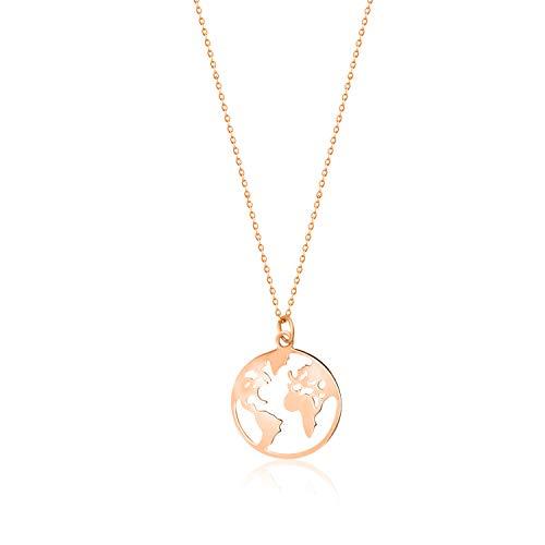 FREIWEIT Weltkugel Kette für Frauen in Rose- 925 Sterling Silber- 18 Karat Goldlegierung mit Schmuck Säckchen - Stilvolle Welt Kette - 40cm + 5cm - Damen Halskette (Rose, Silber 925)