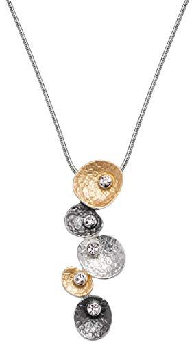 Perlkönig Kette Halskette   Damen Frauen   Planeten in Gold Schwarz Silber   Rund   Tricolor   Karabiner   Nickelfrei