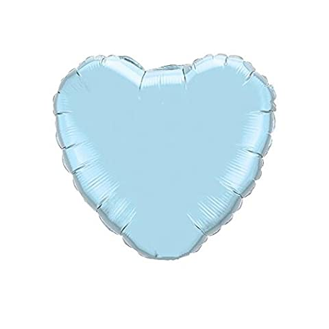 Uninflated - 4 Inch Microfoil Pearl Light Blue Heart