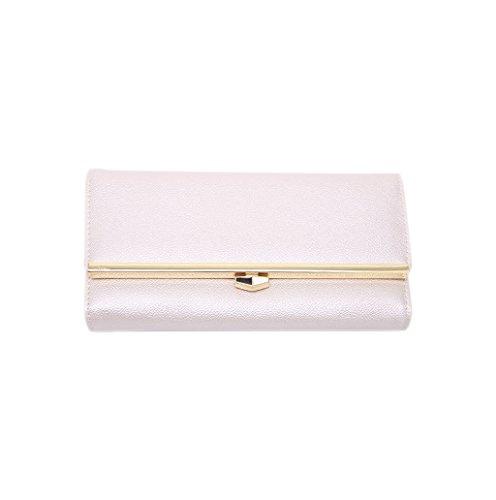 Dairyshop Borsa della borsa del supporto della carta del raccoglitore della frizione del cuoio del faux della ragazza delle donne di modo (rosa caldo) argento
