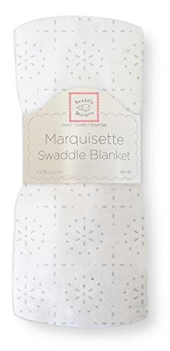 SwaddleDesigns Manta Envolvente Marquiseta, Muselina de Algodón de calidad superior, Burbujas en blanco, Plata