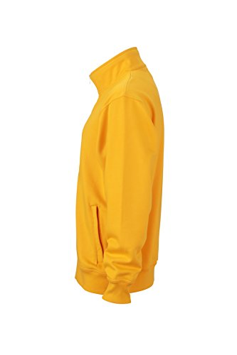 James & Nicholson Herren Workwear Sweat Jacket Sweatshirt Gelb (Gold-Yellow)