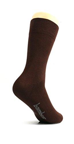Seide Herren-socken (lampox - Bambussocken - 6 Paar - Atmungsaktiv - Reduziert Fußschweiß - Socken (43-46, Braun))
