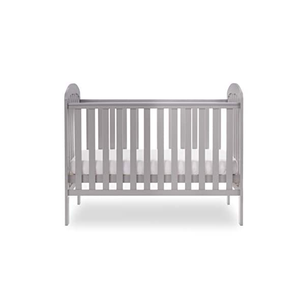 Obaby Lily Cot - Warm Grey Obaby The Obaby Lily cot thoughtfully utilises a clean and contemporary design to become a perfect fit to any child's nursery Obaby offer a free 5 year guarantee to UK and Ireland when you register your product within 28 days This cot provides extra security and reassurance for parents from birth up to approximately 18 months, with fully slatted sides so that you can watch over your little treasure during their most peaceful times, adjustable three position base, the top position allows your little one to be taken in and out easily, then as your child grows the mattress base can be lowered by two further positions and the presence of teething rails ensures your child's delicate teeth are protected. Requires an Obaby 120 x 60cm mattress 3