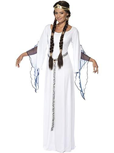 Fancy Ole - Damen Frauen Frauen Mittelalterliches Maid Magd Kostüm mit Kleid, Gürtel und Kopfschmuck, perfekt für Karneval, Fasching und Fastnacht, M, Weiß