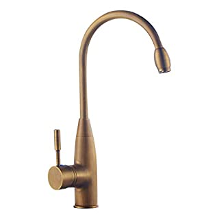 LIXSLT Antiken Wasserhahn, europäischen Retro-Stil Schwan Hals warm und kalt einzigen Griff Badezimmer Waschbecken gebürstet
