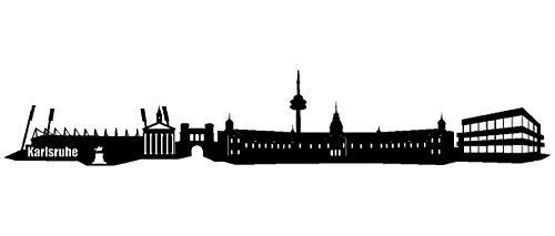 Samunshi® Wandtattoo Karlsruhe Skyline Wandaufkleber in 6 Größen und 19 Farben (100x17,5cm schwarz)