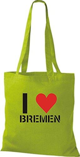 ShirtInStyle Stoffbeutel I LOVE BREMEN Deine Stadt diverse Farbe kiwi