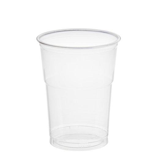 Papstar Trinkbecher/Plastikbecher Hurricane (50 Stück), aus PET-Kunststoff, 0.4 l, Durchmesser 9.5 cm,12.5 cm hoch, glasklar, für Smoothies, Frozen Drinks, Desserts, 11312