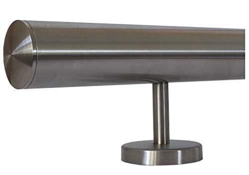 Edelstahlhandlauf Länge 0,3m - 6m aus einem Stück und unterschiedlichen Endstücken zum Auswählen Ø 33,7 mm mit gerade Halter, zum Beispiel: Länge 510 cm mit 6 Halter, Enden mit leicht gewölbte Kappe