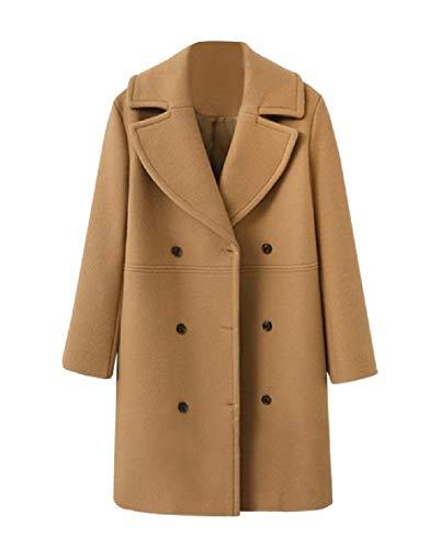 Andopa Damen doppelt-knopf klassische wolle-mischungen abnehmen trench pea coat M Kamel (Coat Damen Camel Wolle Pea)