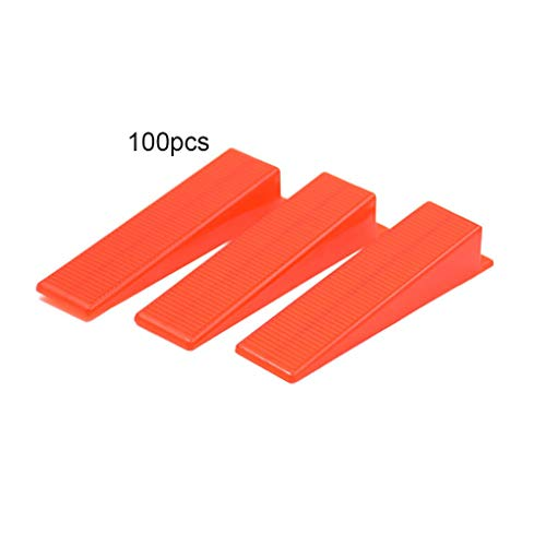 Demino 100pcs 1/1,5/2 / 2,5/3 mm Wedges Tile Leveling Spacers Clips Bodenbelag Tiling Werkzeuge Bodenfliese Kits Nivellieren rot 22x91x17mm - Rot Bodenfliesen