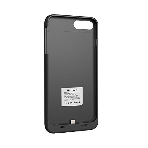 CaseforYou Batteriefach Hülle iPhone 7 Plus Taschen Schalen Akkus 4000mAh Portable Charging Case External Battery Backup Charger Power Bank Protective Cover Batteria Schützend Batterie-Schutz für iPho schwarz