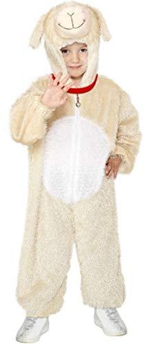 Kinder Schafe Kostüm Hunde - Fancy Me Mädchen Jungen Little Lamm Schaf Hund Tier Büchertag Kostüm Verkleiden Outfit - Creme, 4-6 Years, Creme