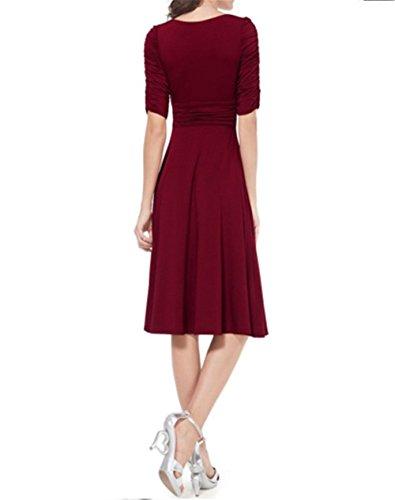 iHaipi - Robe Vintage 50 Années 1/2 Arm Casual Robe Petticoat Jupe Plissée Avec lautomne de Ceinture Femme (M (EU38/40), 02 Rouge Wine) 02 Rouge Wine