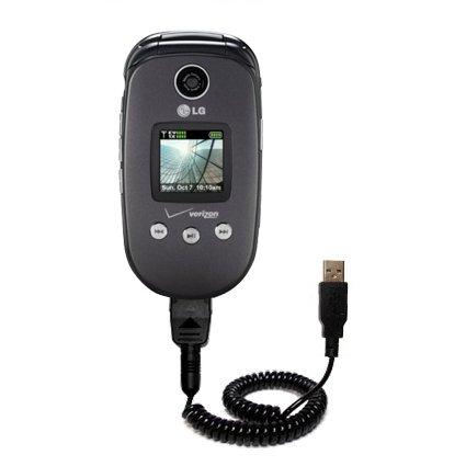 Aufgewickeltes USB-Kabel kompatibel mit LG VX8350 mit den Funktionen Datentransfer und Aufladen Verwendet die TipExchange Technologie