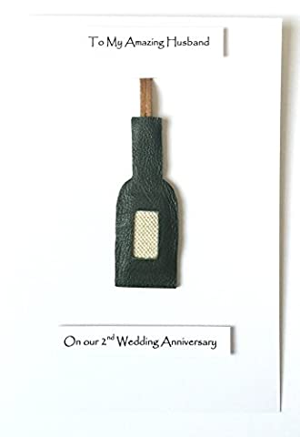 2nd 3rd Wedding Anniversary Card Leather Wine Bottle Gift Ornament Husband Wife - A5 size Card
