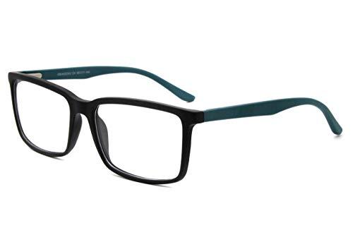 Carmim Over size rectangular clear lens eyeglasses with flex temple