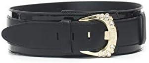 Guess - Cinturón con Hebilla con Logotipo Not C Negro de Poliuretano para Mujer Negro M