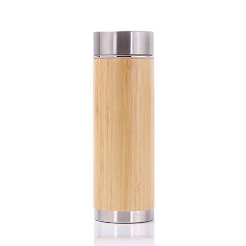 Tianxiu Taza De Madera De Bambú La Botella De Bambú con Infusor De Té Aisló La Taza De Acero Inoxidable De Doble Pared para Bebidas Calientes Y Frías Taza De Termo 6.8 X20CM