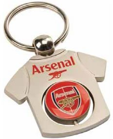 DX9    Football Team Metal Crest spinners and T-shirt Keyring  Various Teams to choose from   All Keyrings come in Official Packaging  Arsenal T-shirt Keyring