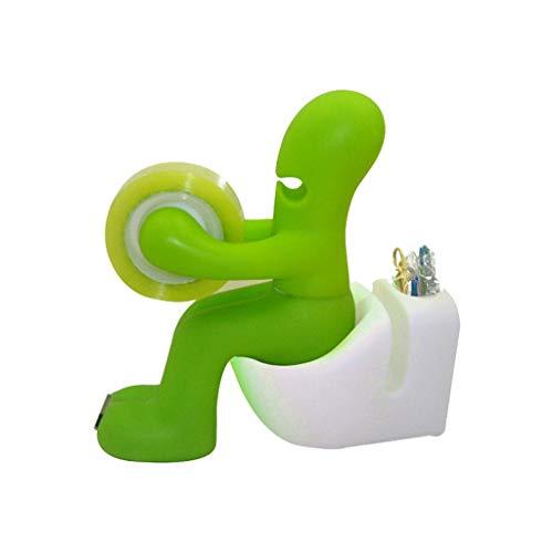 htfrgeds der Butt Office Supply Station Schreibtisch Zubehör-Halter Toilet 1x Bandspender+1x transparentes Band+10x Farbpapier-Clip (Grün) -